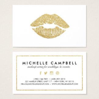 Makeup artist faux glitter chic gold lips elegant business card