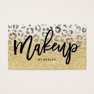 Makeup artist faux gold glitter leopard watercolor business card
