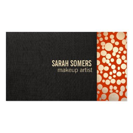 Makeup Artist Faux Gold Leaf  Linen Look Orange Business Card