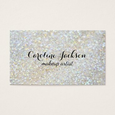 Professional Business makeup artist faux white glitter business card