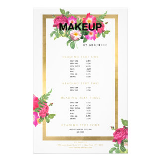Makeup Artist Floral Bold Text on White Flyer