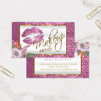 Makeup Artist - Floral Pink Glitter Lip Design Business Card