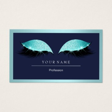 Professional Business Makeup Artist Frame Glitter Eye Aqua Navy Blue Business Card