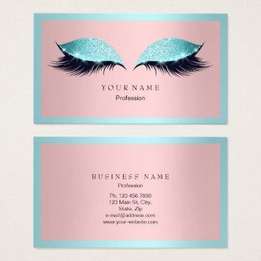 Professional Business Makeup Artist Frame Glitter Eye Aqua Tiffany Pink Business Card