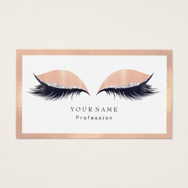 Professional Business Makeup Artist Framed Glitter Eye Lashes Peach Business Card