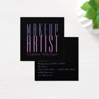 Makeup artist giant text letters cover square business card
