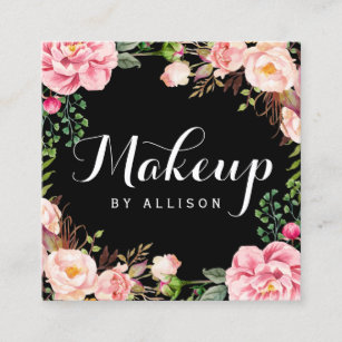 makeup artist girly romantic floral wrapping square business card - Girly Business Cards