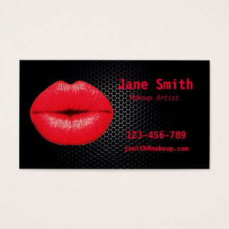 Makeup artist glamorous punk 80s red and black business card