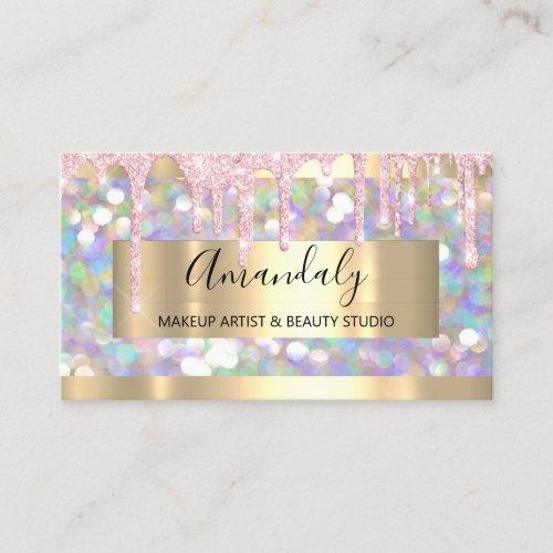 Makeup Artist Glitter Gold Framed Spark Glitter Business Card