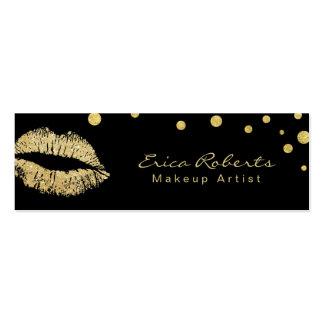 Makeup Artist Glitter Lips Modern Black & Gold Mini Business Card