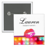Makeup Artist Glossy Lips Colorful Lights Pins