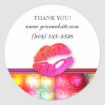 Makeup Artist Glossy Lips Colorful Lights Classic Round Sticker