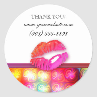 Makeup Artist Glossy Lips Colorful Lights Round Stickers