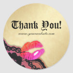 Makeup Artist Glossy Lips N Lace Pink Orange Gold Classic Round Sticker