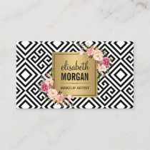 Makeup Artist Gold Abstract Pattern Floral Decor Business Card