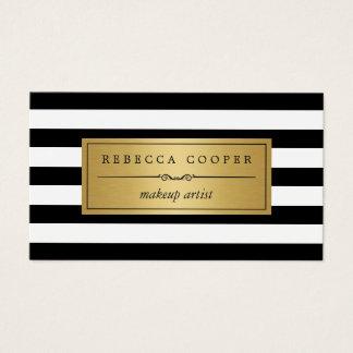 Makeup Artist - Gold Black White Stripes Business Card