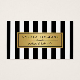 Makeup Artist Gold Bow and Black White Stripes Business Card