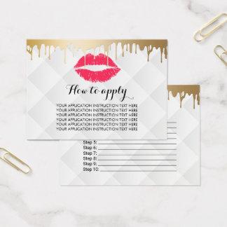Makeup Artist Gold Drips Application Instructions Business Card