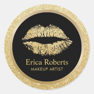 Makeup Artist Gold Glitter Lips Beauty Salon Classic Round Sticker