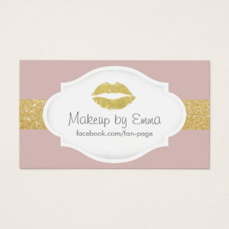 Makeup Artist Gold Glitter Lips Elegant Dusty Pink Business Card