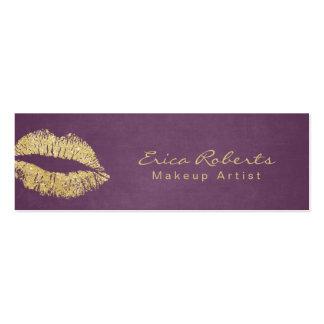 Makeup Artist Gold Glitter Lips Modern Purple Mini Business Card