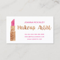 Makeup Artist Gold Glitter Watercolor Lipstick Business Card