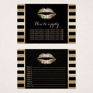 Makeup Artist Gold Lips Application Instructions Business Card