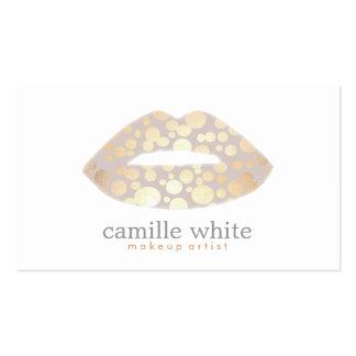 Makeup Artist Gold Lips Beauty Cosmetics Modern Business Card Templates