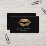 """Makeup Artist Gold Lips Black Business Card<br><div class=""""desc"""">This all black business card with a chic gold lips is perfect for makeup artists that work with classy and elegant makeup for weddings or formal events. Make your potential clients know you know what is elegancy.</div>"""