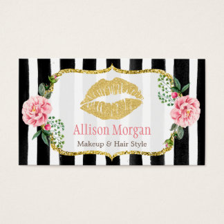 Makeup Artist Gold Lips Blush Pink Floral Stripes Business Card