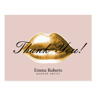 Makeup Artist Gold Lips Blush Pink Salon Thank You Postcard