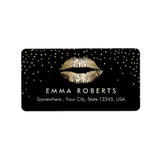 Makeup Artist Gold Lips Confetti Beauty Salon Label