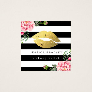 Makeup Artist Gold Lips Floral Black White Stripes Square Business Card