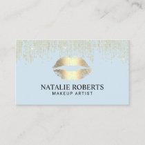 Makeup Artist Gold Lips Gold Sequins Mint Blue Business Card