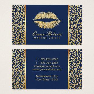 Makeup Artist Gold Lips Luxury Leopard Navy Blue Business Card