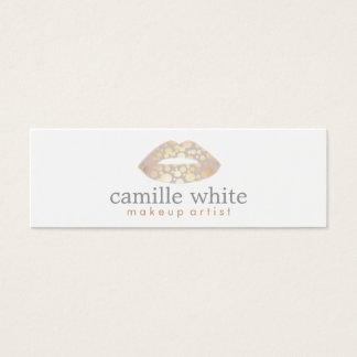 Makeup Artist Gold Lips Mini Mini Business Card