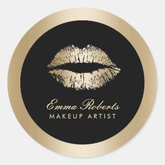 Makeup Artist Gold Lips Modern Black & Gold Salon Classic Round Sticker