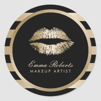 Makeup Artist Gold Lips Modern Black Gold Stripes Classic Round Sticker