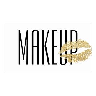 Makeup Artist Gold Lips Modern Black & White Business Card