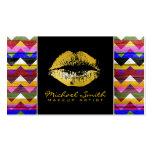 Makeup Artist Gold Lips Modern Chevron Wood #2 Business Card
