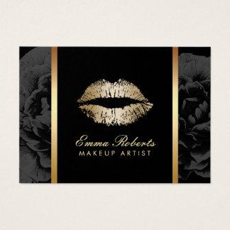 Makeup Artist Gold Lips Modern Dark Floral Salon Business Card