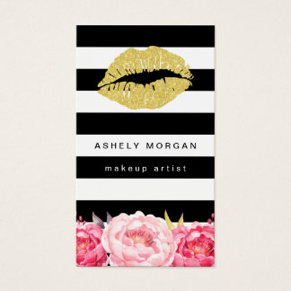 Makeup Artist Gold Lips Modern Floral Deco Stripes Business Card