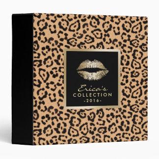 Makeup Artist Gold Lips Modern Leopard Print 3 Ring Binder