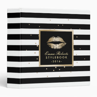 Makeup Artist Gold Lips Modern Stripes Stylebook Binder