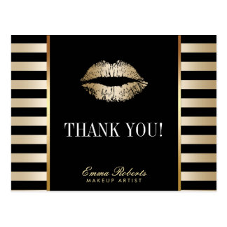 Makeup Artist Gold Lips Modern Stripes Thank You Postcard