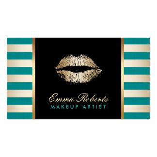 Makeup Artist Gold Lips Modern Teal & Gold Stripes Business Card