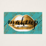 Makeup Artist Gold Lips Modern Turquoise Marble Business Card