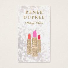 Makeup Artist Gold Lipstick Bokeh Beauty Business Card at Zazzle