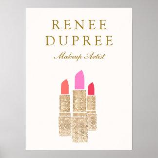 Makeup Artist Gold Lipstick Bokeh Beauty Poster