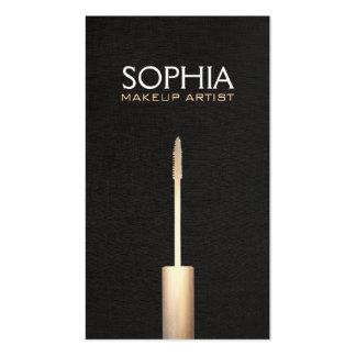 Makeup Artist Gold Mascara Logo Faux Black Linen Business Card